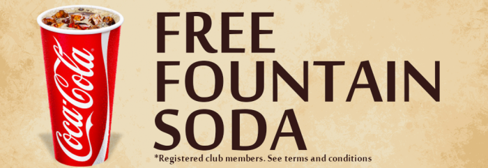 Simply present your Trading Post Rewards card every time you purchase a fountain soda at our stores and you'll get a FREE soda after your ninth cup.  After you complete your purchase, check the bottom of your receipt to see how many more purchases you'll need to make to receive your free soda. When you are eligible for your free soda, a message will print out on the bottom of your receipt with instructions on how to redeem it.